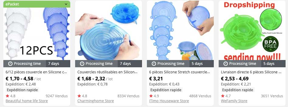 couvercles silicone dropshipping