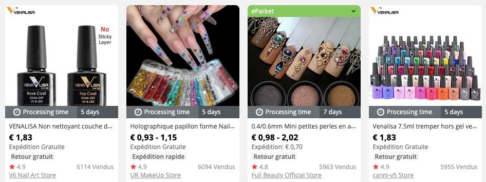dropshipping bijoux d'ongles