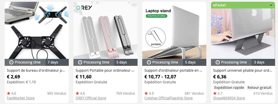 support ordinateur dropshipping